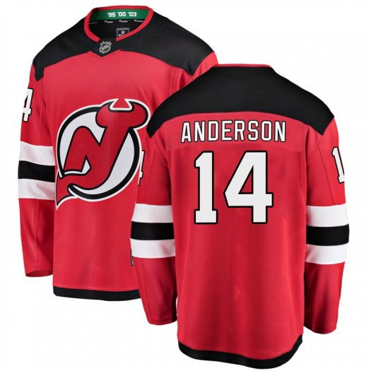 Joey Anderson New Jersey Devils Men's Fanatics Branded Red Breakaway Home Jersey