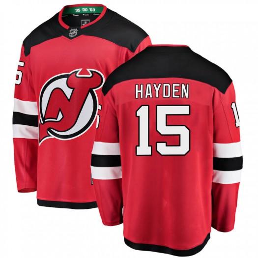 John Hayden New Jersey Devils Men's Fanatics Branded Red Breakaway Home Jersey