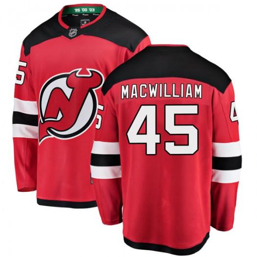 Andrew MacWilliam New Jersey Devils Men's Fanatics Branded Red Breakaway Home Jersey