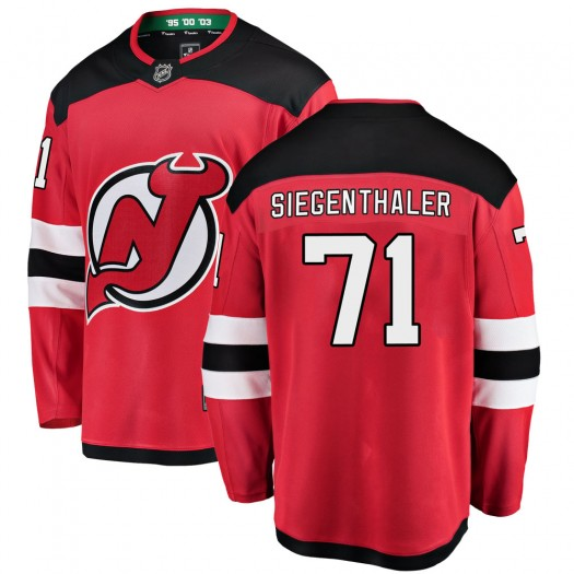 Jonas Siegenthaler New Jersey Devils Men's Fanatics Branded Red Breakaway Home Jersey
