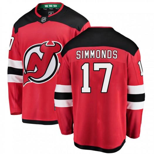 Wayne Simmonds New Jersey Devils Men's Fanatics Branded Red Breakaway Home Jersey
