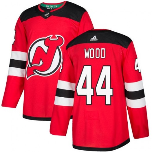 Miles Wood New Jersey Devils Youth Adidas Authentic Red Home Jersey