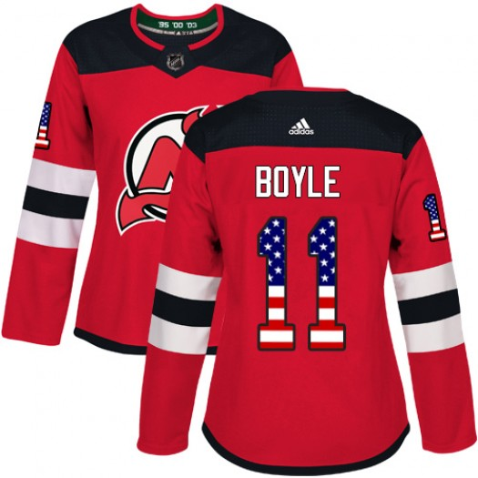 Brian Boyle New Jersey Devils Women's Adidas Authentic Red USA Flag Fashion Jersey