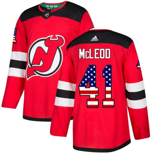 Michael McLeod New Jersey Devils Youth Adidas Authentic Red USA Flag Fashion Jersey