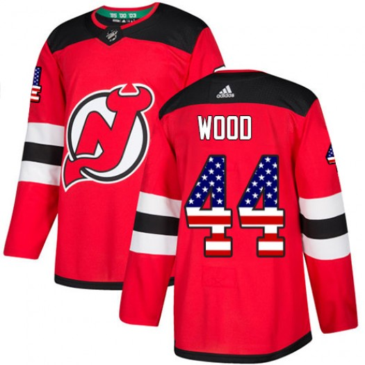 Miles Wood New Jersey Devils Men's Adidas Authentic Red USA Flag Fashion Jersey