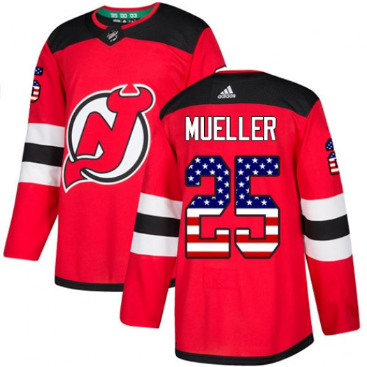 Mirco Mueller New Jersey Devils Men's Adidas Authentic Red USA Flag Fashion Jersey