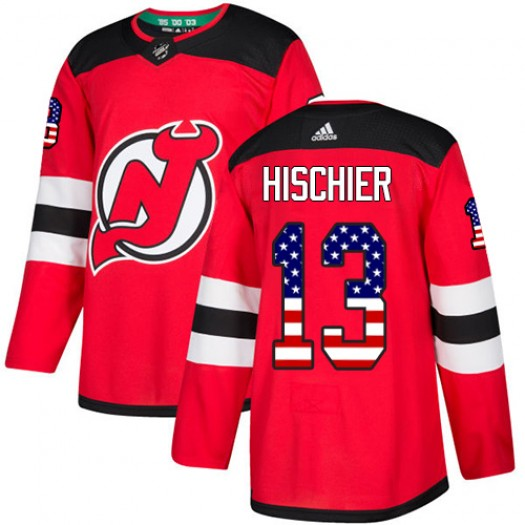 Nico Hischier New Jersey Devils Youth Adidas Authentic Red USA Flag Fashion Jersey