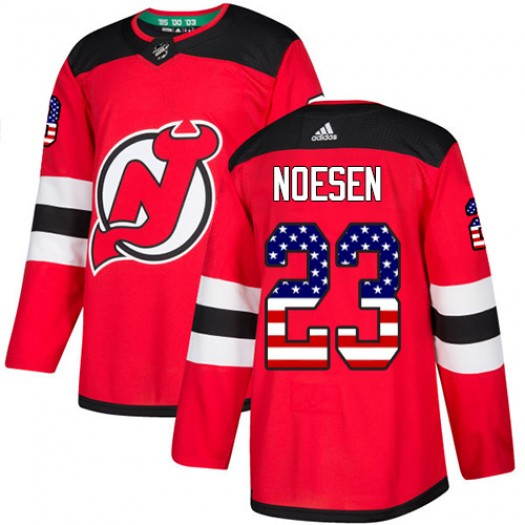 Stefan Noesen New Jersey Devils Youth Adidas Authentic Red USA Flag Fashion Jersey
