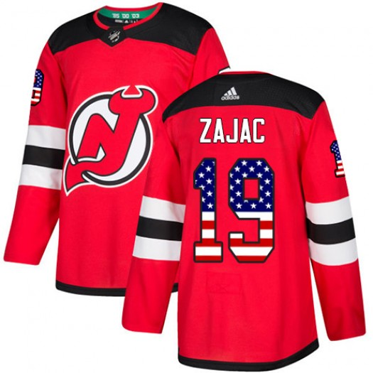 Travis Zajac New Jersey Devils Men's Adidas Authentic Red USA Flag Fashion Jersey