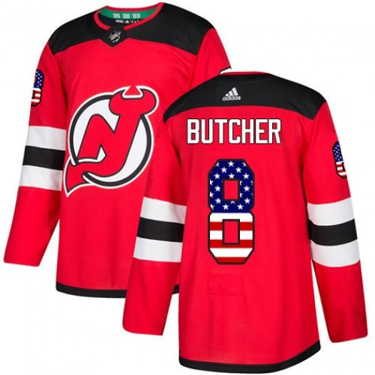 Will Butcher New Jersey Devils Men's Adidas Authentic Red USA Flag Fashion Jersey