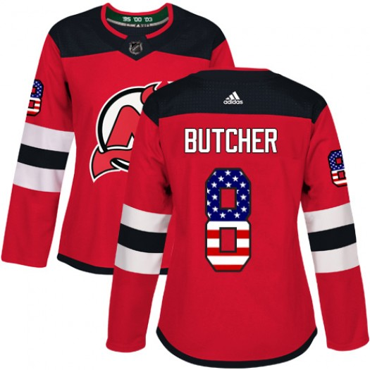 Will Butcher New Jersey Devils Women's Adidas Authentic Red USA Flag Fashion Jersey